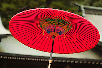 Japan Tokyo Meiji-jingu Shinto Shrine traditional red umbrella