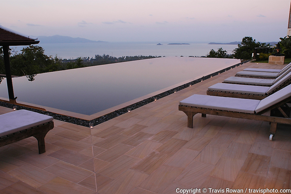 The infinity pool of a private villa on the island of Koh Samui, Thailand.