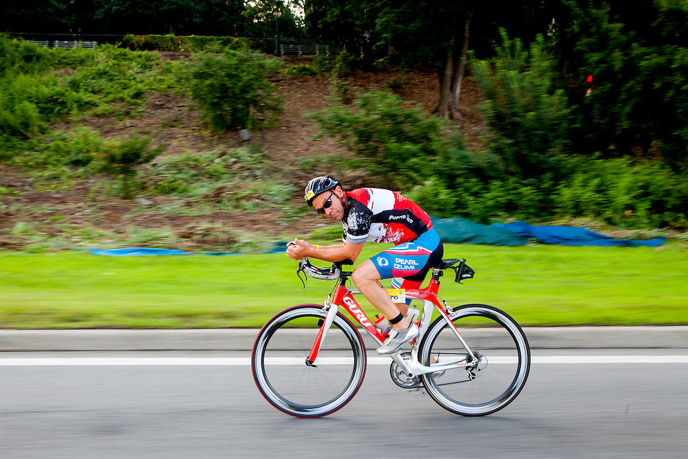 NEW YORK, N.Y. - JULY 19, 2015: Triathletes ride along Henry Hudson Parkway during the 15th Annual Panasonic New York City Triathlon. CREDIT: Sam Hodgson for The New York Times