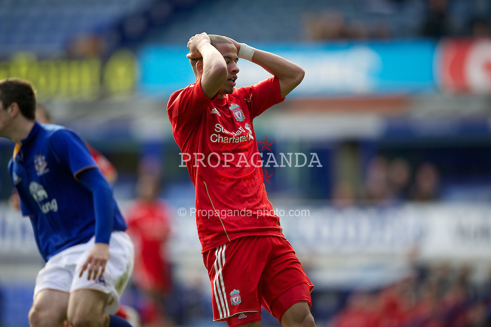 LIVERPOOL, ENGLAND - Tuesday, March 6, 2012: Liverpool's Nathan Eccleston rues a missed chance against Everton during the FA Premier Reserve League match at Goodison Park. (Pic by David Rawcliffe/Propaganda)