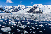 Brash ice in scenic Neko Harbor, Andvord Bay, Antarctica