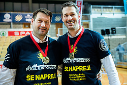 Goran Jagodnik and Jurica Golemac, head coach of Sixt Primorska celebrate after winning during basketball match between KK Sixt Primorska and KK Hopsi Polzela in final of Spar Cup 2018/19, on February 17, 2019 in Arena Bonifika, Koper / Capodistria, Slovenia. KK Sixt Primorska became Slovenian Cup Champion 2019. Photo by Vid Ponikvar / Sportida
