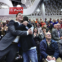 Nederland, Amsterdam , 29 november 2013.<br /> ALV PvdA Amsterdam in Sint Nicolaaslyceum aan de Beethovenstraat in Amsterdam.<br /> Op de foto: Sofyan Mbarki is blij met zijn positie op de kandidatenlijst.<br /> Foto:Jean-Pierre Jans
