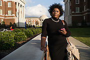 "TUSCALOOSA, AL – DECEMBER 10, 2015: Amanda K. Bennett, 21, walks to a meeting on the University of Alabama campus. Bennett, a senior English and African American studies major in the Honors College, organized the ""We are Done"" campaign in 2015. ""I was motivated by years of letting systemic injustices and micro aggressions happen around me,"" Bennett said. ""I realized that I could no longer be a passive bystander to inequality."" CREDIT: Bob Miller for The New York Times"