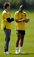 Photo: Richard Lane.<br />Arsenal Training Session. The Barclays Premiership. 11/05/2006.<br />Jens Lehmann (L) and Thierry Henry talk tactics in training.