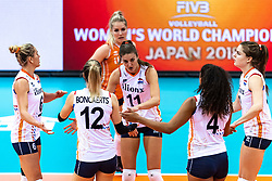 16-10-2018 JPN: World Championship Volleyball Women day 17, Nagoya<br /> Netherlands - China 1-3 / Maret Balkestein-Grothues #6 of Netherlands, Britt Bongaerts #12 of Netherlands, Kirsten Knip #1 of Netherlands, Anne Buijs #11 of Netherlands, Celeste Plak #4 of Netherlands, Yvon Belien #3 of Netherlands