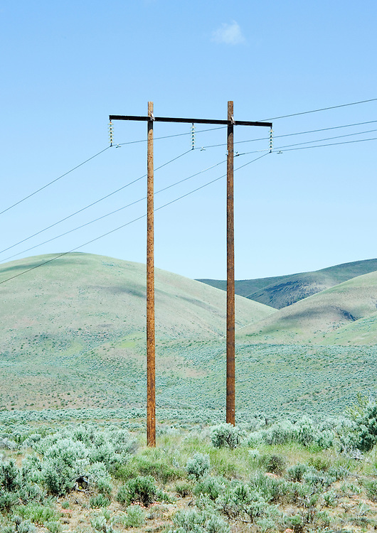 Powerpoles and wires in the desert of Eastern Washington