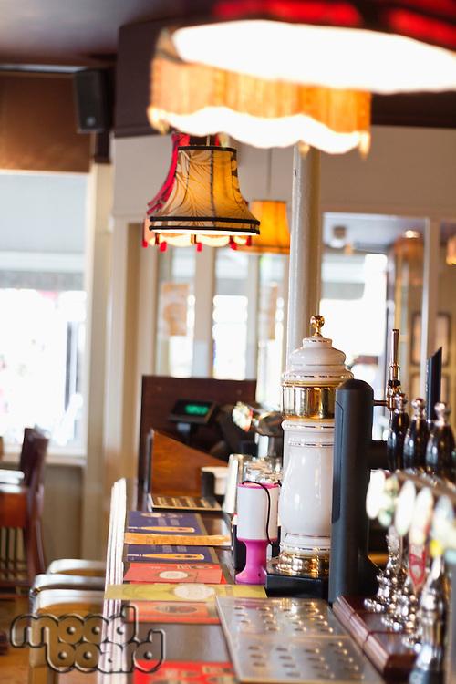 Interior of a pub, bar counter