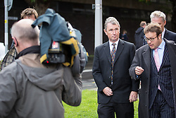 © Licensed to London News Pictures . 18/09/2013 . Preston , UK . NIGEL EVANS MP leaves Preston Magistrates Court this morning (Wednesday 18th September 2013) . He is accused of indecent assault , sexual assault and rape . The MP , who has denied the charges , quit his position as deputy speaker of the house of commons after the charges were brought but remains a Member of Parliament for the constituency of Ribble Valley . Photo credit : Joel Goodman/LNP