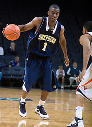 Shepherd guard Fred Lymas (1) in action against UVA.  The Virginia Cavaliers defeated the Shepherd Rams 87-52 in an NCAA basketball exhibition game at the University of Virginia's John Paul Jones Arena in Charlottesville, VA on November 9, 2008.