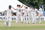 WICKET - Chris Dent is dismissed by Chris Wright for 125 during the Specsavers County Champ Div 2 match between Gloucestershire County Cricket Club and Leicestershire County Cricket Club at the Cheltenham College Ground, Cheltenham, United Kingdom on 16 July 2019.