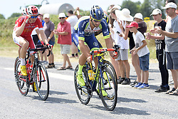 July 10, 2018 - Sarzeau, FRANCE - Belgian Dimitri Claeys of Cofidis and Belgian Guillaume Van Keirsbulck of Wanty-Groupe Gobert pictured in action during the fourth stage of the 105th edition of the Tour de France cycling race, from La Baule to Sarzeau (195km), in France, Tuesday 10 July 2018. This year's Tour de France takes place from July 7th to July 29th. BELGA PHOTO YORICK JANSENS - FRANCE OUT (Credit Image: © Yorick Jansens/Belga via ZUMA Press)