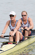 "Rio de Janeiro. BRAZIL.  GBR W2-, Bow Helen GLOVER and Heather STANNING, moving away from the start at the 2016 Olympic Rowing Regatta. Lagoa Stadium,<br /> Copacabana,  ""Olympic Summer Games""<br /> Rodrigo de Freitas Lagoon, Lagoa.   Monday  08/08/2016 <br /> <br /> [Mandatory Credit; Peter SPURRIER/Intersport Images]"