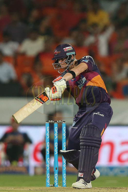 Steven Smith of Rising Pune Supergiants drives a delivery during match 22 of the Vivo IPL 2016 (Indian Premier League) between the Sunrisers Hyderabad and the Rising Pune Supergiants held at the Rajiv Gandhi Intl. Cricket Stadium, Hyderabad on the 26th April 2016<br /> <br /> Photo by Shaun Roy / IPL/ SPORTZPICS