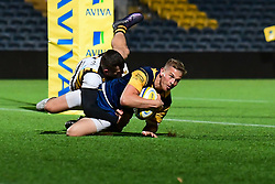 Michael Dowsett of Worcester Cavaliers scores his sides third try - Mandatory by-line: Craig Thomas/JMP - 23/10/2017 - RUGBY - Sixways Stadium - Worcester, England - Worcester Cavaliers v Wasps - Aviva A League