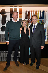 Left to right, MEREK REICHMAN Chief Creative Officer & Designer Director Aston Martin,  KATIA BASSI MD Aston Martin Brands and ANDY PALMER CEO Aston Martin at the opening of No. 8 Dover Street, the new Aston Martin Art of Living boutique on 1st September 2016.