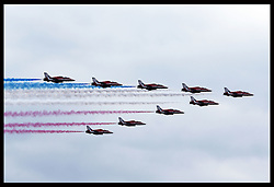 Image licensed to i-Images Picture Agency. 11/07/2014. Windsor, United Kingdom. The  Red Arrows put on display as part of their 50th anniversary display season at the Royal International Air Tattoo at RAF Fairford, Gloucestershire,  United Kingdom. Picture by Stephen Lock / i-Images