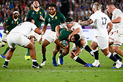 Handre Pollard of South Africa is tackled by Jamie George of England during the World Cup Japan 2019, Final rugby union match between England and South Africa on November 2, 2019 at International Stadium Yokohama in Yokohama, Japan - Photo Yuya Nagase / Photo Kishimoto / ProSportsImages / DPPI
