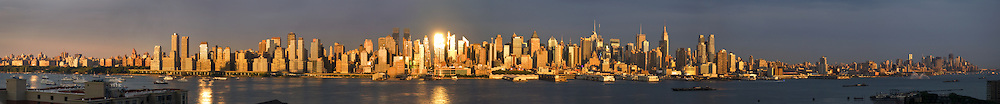 A view of New York City from New Jersey at sunset on the 4th of July, 2011.