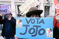 Roma 1 Marzo  2013.Lo sbarco al Campidoglio di Jojo Che Sindaco,Josef Yemane Tewelde nato a Roma di origini eritree, giornata nazionale dello sciopero migrante, candidato incandidabile, nato in Italia ma senza cittadinanza.