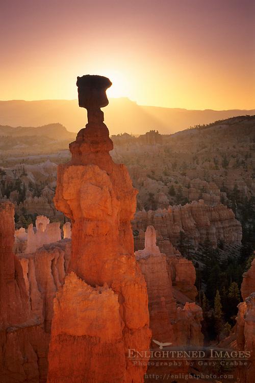 Sunrise behind Thors Hammer, Navajo Loop Trail, Bryce Canyon National Park, UTAH