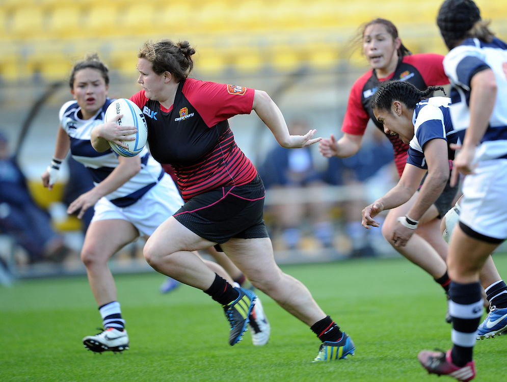 Canterburys' Tara Horsnell trybound against Auckland in the Women's National Provincial Rugby Final at Westpac Stadium, Wellington, New Zealand, Saturday, October 26, 2013. Credit:SNPA / Ross Setford
