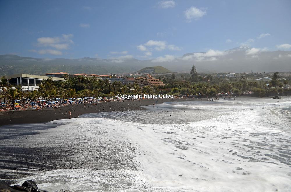Beautiful beach day in Puerto de la Cruz, Tenerife, Canary Islands