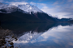 Mount Kashagnak is reflected in Chilkoot Lake located in the Chilkoot Lake State Recreation Site near Haines, Alaska.