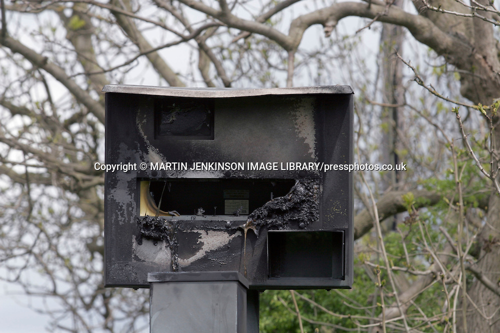 Vandalised Gatso speed camera damaged by fire ....
