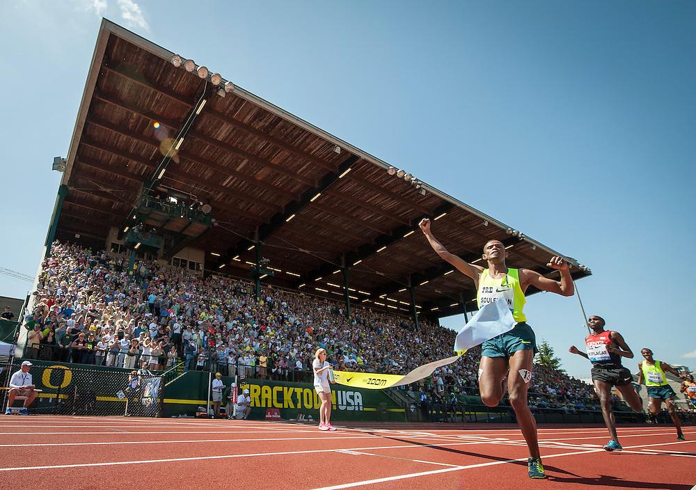 The IAAF Diamond League, Prefontaine Classic in Eugene, Oregon:  Ayanleh Souleiman crosses the line to win the Bowerman Mile.