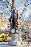 "Public Garden statue of Edward Everett Hale, who wrote ""Man Without a Country"""
