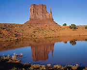 West Mitten Butte reflected in a pond in Monument Valley Navajo Tribal Park, Arizona and Utah