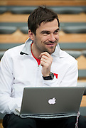 Pawel Habrat psychologist of polish tennis national team three days before the BNP Paribas Davis Cup 2013 between Poland and South Africa at MOSiR Hall in Zielona Gora on April 02, 2013...Poland, Zielona Gora, April 02, 2013..Picture also available in RAW (NEF) or TIFF format on special request...For editorial use only. Any commercial or promotional use requires permission...Photo by © Adam Nurkiewicz / Mediasport
