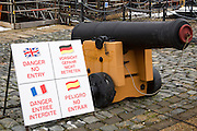 An artillery canon from the British Royal Navy's most famous warship, HMS Victory, which is now part of a tourist display in Portsmouth Historic Dockyard, Hampshire, UK.