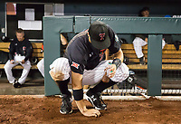 Texas Tech's Josh Jung collects dirt after the Red Raiders lost their elimination match to Florida at TD Ameritrade Park on Thursday, June 21, 2018, in Omaha.<br /> <br /> MATT DIXON/THE WORLD-HERALD