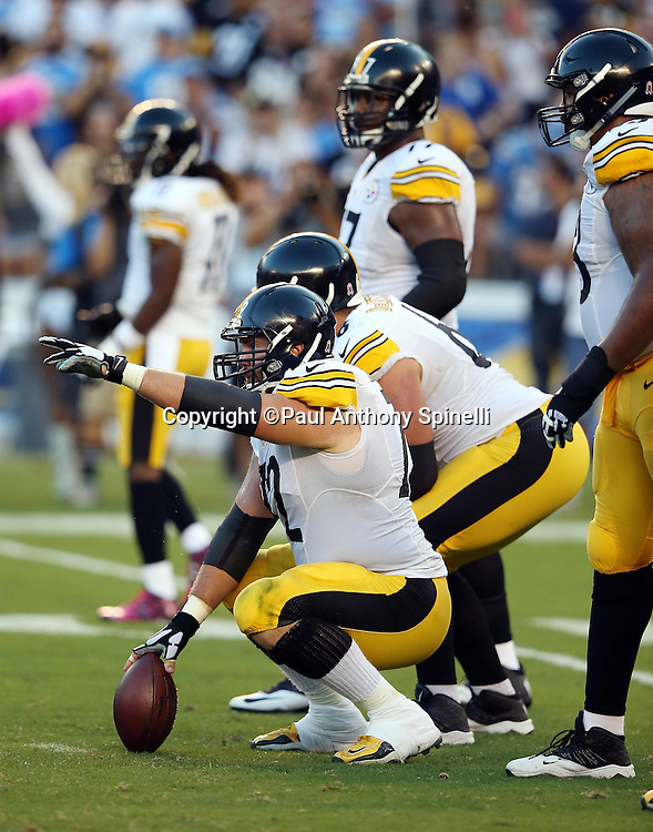 Pittsburgh Steelers center Cody Wallace (72) points at the defense as he gets set to snap the ball at the line of scrimmage during the 2015 NFL week 5 regular season football game against the San Diego Chargers on Monday, Oct. 12, 2015 in San Diego. The Steelers won the game 24-20. (©Paul Anthony Spinelli)