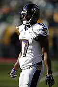 Baltimore Ravens wide receiver Mike Wallace (17) looks into the late day sunlight during the 2017 NFL week 11 regular season football game against the Green Bay Packers, Sunday, Nov. 19, 2017 in Green Bay, Wis. The Ravens won the game in a 23-0 shutout. (©Paul Anthony Spinelli)