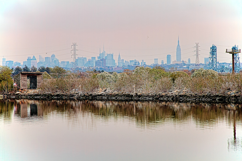 A view of DeKorte Park in Lyndhurst, New Jersey, the Manhattan skyline in the background.