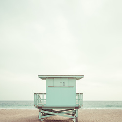 Malibu California Zuma Beach lifeguard tower #1 photo in teal and brown. Malibu is a coastal beach city in Southern California in the United States of America. Copyright ⓒ 2015 Paul Velgos with All Rights Reserved.