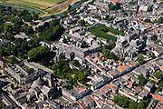 Nederland, Noord-Brabant, Den Bosch, 08-07-2010; Zuidelijk deel van de binnenstad met de Sint-Janskathedraal (Kathedrale Basiliek van Sint-Jan Evangelist). Links van de kathedraal voormalig klooster, links de Sint-Jacobskerk (tegenwoordig het Jheronimus Bosch Art Center). Boven in beeld het landelijk gebied Het Bossche Broek..View of southern part of the town with St. John's Cathedral (Cathedral of St. John Evangelist)..luchtfoto (toeslag), aerial photo (additional fee required).foto/photo Siebe Swart