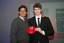 CARDIFF, WALES - Saturday, May 11, 2013: William Abbotts is presented with his U16's cap by Wales national team manager Chris Coleman at the FAW Trust Under-16's cap presentation. (Pic by David Rawcliffe/Propaganda)