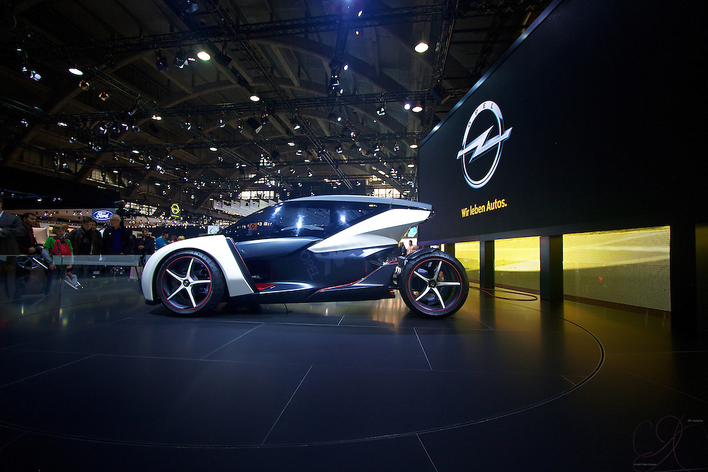 The Opel Rak e - a concept car from GM's European face: Opel. The car is a tandem 2 seat, electric powered attention getter at the Brussels Auto show.