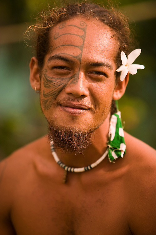 Huahine, French Polynesia, Maeva, tatooed village male