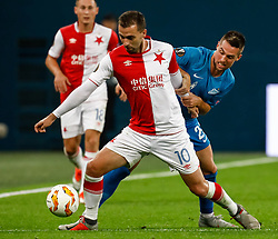 October 4, 2018 - Saint Petersburg, Russia - Robert Mak (R) of FC Zenit Saint Petersburg and Josef Husbauer of SK Slavia Prague vie for the ball during the Group C match of the UEFA Europa League between FC Zenit Saint Petersburg and SK Sparta Prague at Saint Petersburg Stadium on October 4, 2018 in Saint Petersburg, Russia. (Credit Image: © Mike Kireev/NurPhoto/ZUMA Press)