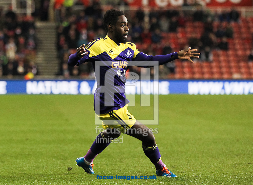 Nathan Dyer of Swansea City during the Barclays Premier League match at the Britannia Stadium, Stoke-on-Trent<br /> Picture by Tom Smith/Focus Images Ltd 07545141164<br /> 12/02/2014
