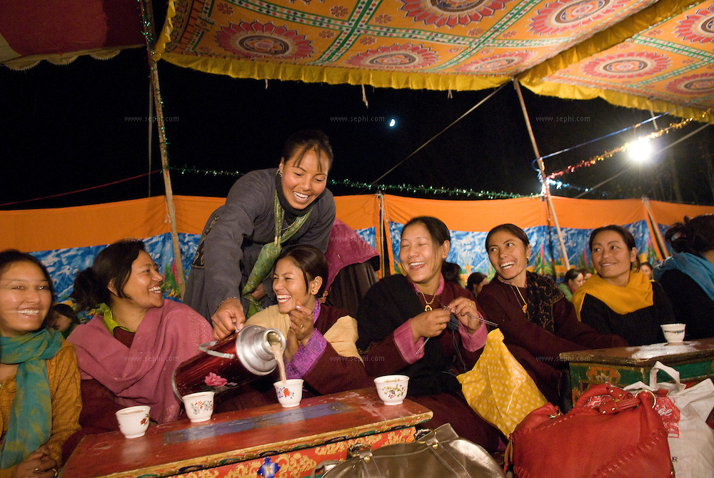 A Ladakhi Buddhist wedding outside of Leh, Ladakh. October 2008