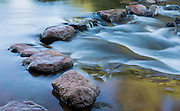 A series of stones provides the only (somewhat) dry crossing of Oak Creek at Red Rock Crossing, Sedona, AZ.