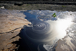 CANADA ALBERTA FORT MCMURRAY 23JUL09 - Toxic sludge floats on the surface of a tailings pond bordering the Boreal forest at the tarsands mining site of CNRL (Canadian Natural Resources Limited) Horizon north of Fort McMurray, northern Alberta, Canada...The tar sand deposits lie under 141,000 square kilometres of sparsely populated boreal forest and muskeg and contain about 1.7 trillion barrels of bitumen in-place, comparable in magnitude to the world's total proven reserves of conventional petroleum. Current projections state that production will  grow from 1.2 million barrels per day (190,000 m³/d) in 2008 to 3.3 million barrels per day (520,000 m³/d) in 2020 which would place Canada among the four or five largest oil-producing countries in the world...The industry has brought wealth and an economic boom to the region but also created an environmental disaster downstream from the Athabasca river, polluting the lakes where water and fish are contaminated. The native Indian tribes of the Mikisew, Cree, Dene and other smaller First Nations are seeing their natural habitat destroyed and are largely powerless to stop or slow down the rapid expansion of the oil sands development, Canada's number one economic driver...jre/Photo by Jiri Rezac / GREENPEACE..© Jiri Rezac 2009
