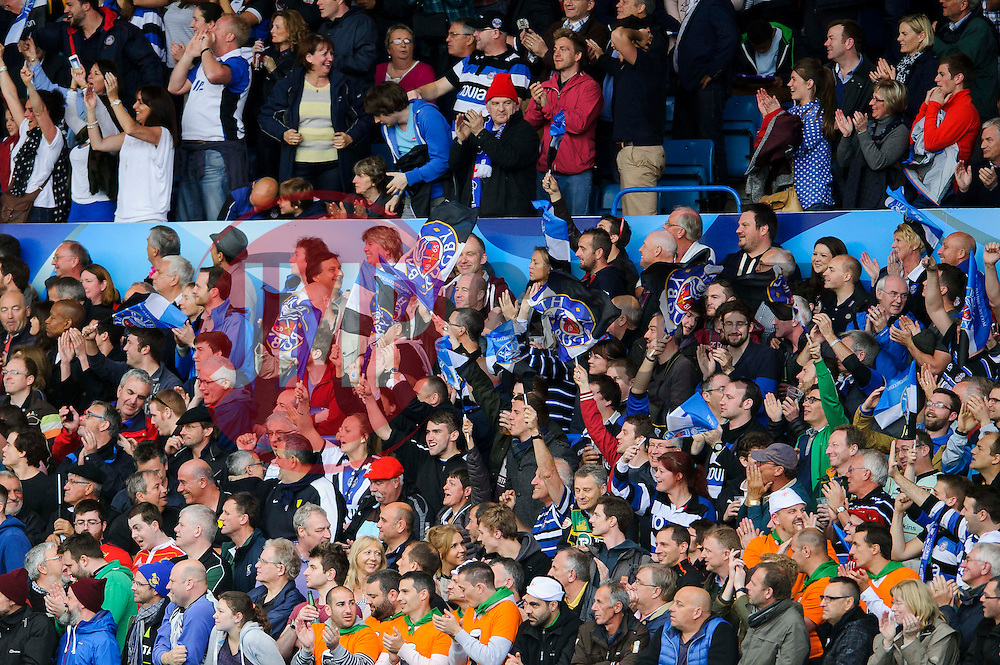 Bath fans cheer after Winger Anthony Watson scores the opening try of the match - mandatory by-line: Rogan Thomson/JMP - Tel: 07966 386802 - 23/05/2014 - SPORT - RUGBY UNION - Cardiff Arms Park, Wales - Bath Rugby v Northampton Saints - Amlin Challenge Cup Final.