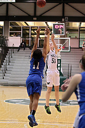 15 January 2014:  .ww53 & Bria Williams during an NCAA women's division 3 basketball game between the Millikin Big Blue and the Illinois Wesleyan Titans in Shirk Center, Bloomington IL